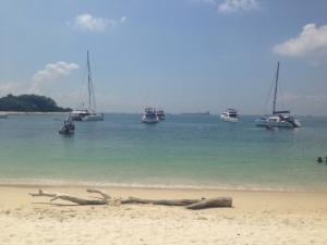 White Sand and Blue Green waters...good enough for a swim. The rented yachts were close by.
